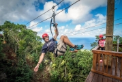 """<h5>Zipline """"Tree Limin Extreme""""</h5><p>St. Thomas finally! has a zipline….and it was worth the wait. Our new ACCT certified zipline was designed by the renowned Bradd Morse who designed the #1 rated zipline in Jamaica. The zipline canopy tour is located in the lush tropical rain forest high up on St. Peter Mountain on St. Thomas. The experience is like no others. You will soar through the jungle canopy at speeds up to 35 miles per hour. Guests must be between 60-275 lbs and no taller than 6'6"""". The tour will take approximately 2 ½ hrs. There are a total of six exhilarating ziplines, two awe-inspiring sky bridges and eight incredibly scenic aerial platforms incorporated into the tour.</p>"""